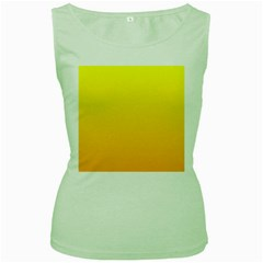 Yellow To Chrome Yellow Gradient Womens  Tank Top (green)