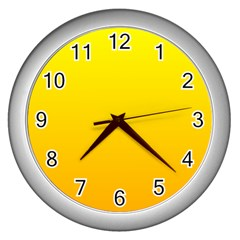 Yellow To Chrome Yellow Gradient Wall Clock (Silver)