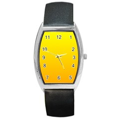 Yellow To Chrome Yellow Gradient Tonneau Leather Watch