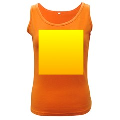 Yellow To Chrome Yellow Gradient Womens  Tank Top (dark Colored)