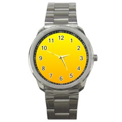 Yellow To Chrome Yellow Gradient Sport Metal Watch