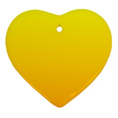 Yellow To Chrome Yellow Gradient Heart Ornament (two Sides)