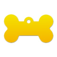 Yellow To Chrome Yellow Gradient Dog Tag Bone (two Sided)