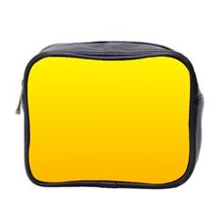 Yellow To Chrome Yellow Gradient Mini Travel Toiletry Bag (Two Sides)