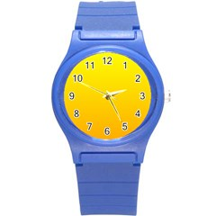 Yellow To Chrome Yellow Gradient Plastic Sport Watch (small)