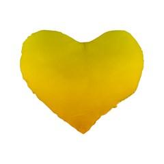 Yellow To Chrome Yellow Gradient 16  Premium Heart Shape Cushion