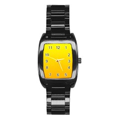 Yellow To Chrome Yellow Gradient Men s Stainless Steel Barrel Analog Watch