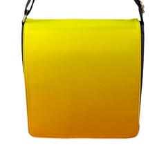 Yellow To Chrome Yellow Gradient Flap Closure Messenger Bag (Large)