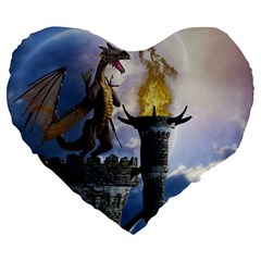 Dragon Land 2 19  Premium Heart Shape Cushion