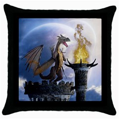 Dragon Land 2 Black Throw Pillow Case