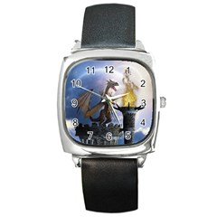 Dragon Land 2 Square Leather Watch