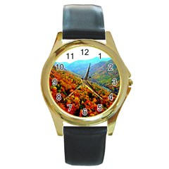 Through The Mountains Round Metal Watch (gold Rim)