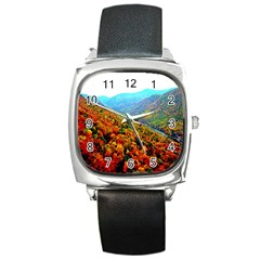 Through The Mountains Square Leather Watch