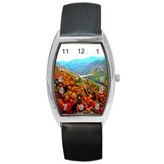 Through The Mountains Tonneau Leather Watch