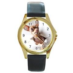 Chihuahua Round Metal Watch (Gold Rim)