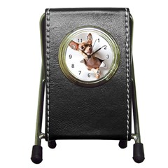 Chihuahua Stationery Holder Clock