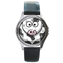 Cow Round Metal Watch (silver Rim)