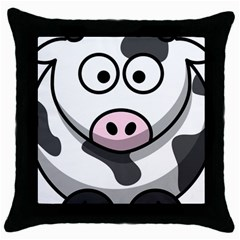 Cow Black Throw Pillow Case
