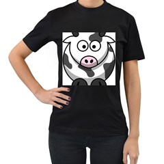 Cow Womens' Two Sided T Shirt (black)