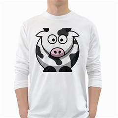 Cow Mens' Long Sleeve T Shirt (white)