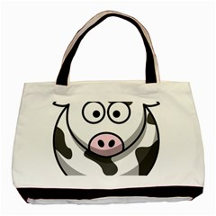 Cow Twin Sided Black Tote Bag