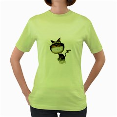 Funny Cat Womens  T-shirt (Green)