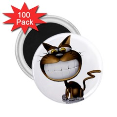 Funny Cat 2.25  Button Magnet (100 pack)