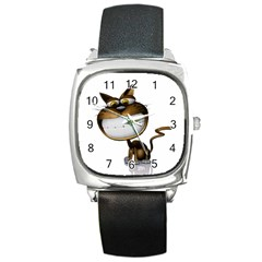 Funny Cat Square Leather Watch