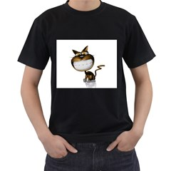 Funny Cat Mens' Two Sided T-shirt (Black)