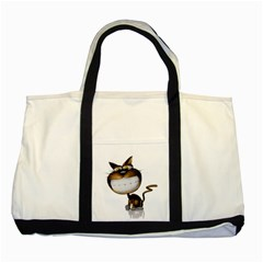 Funny Cat Two Toned Tote Bag