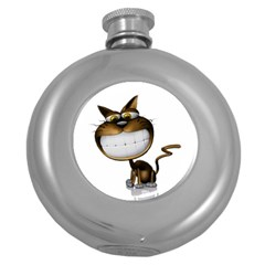 Funny Cat Hip Flask (Round)