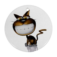 Funny Cat Round Ornament (two Sides)