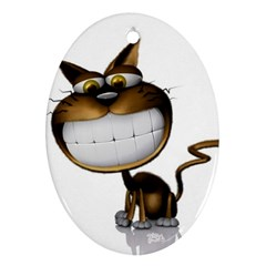 Funny Cat Oval Ornament (two Sides)