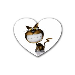 Funny Cat Drink Coasters 4 Pack (Heart)