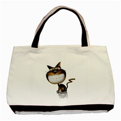 Funny Cat Twin-sided Black Tote Bag