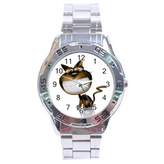Funny Cat Stainless Steel Watch (Men s)