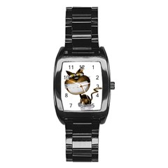 Funny Cat Men s Stainless Steel Barrel Analog Watch