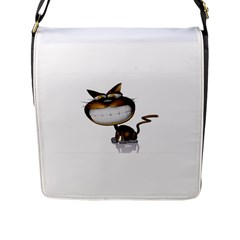 Funny Cat Flap Closure Messenger Bag (large)