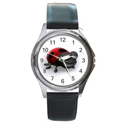 Lady Bird Round Metal Watch (Silver Rim)