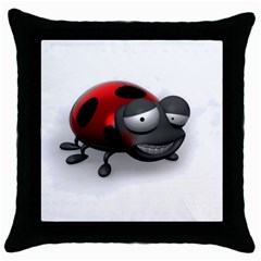 Lady Bird Black Throw Pillow Case