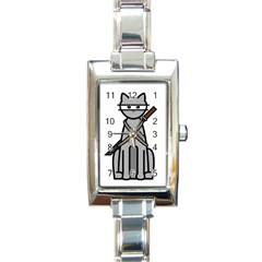 Ninja Cat Rectangular Italian Charm Watch
