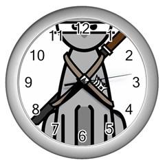 Ninja Cat Wall Clock (silver)