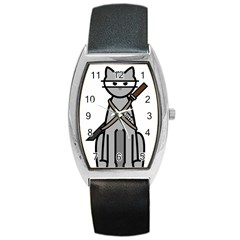 Ninja Cat Tonneau Leather Watch