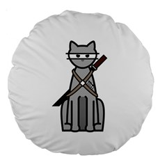 Ninja Cat 18  Premium Round Cushion