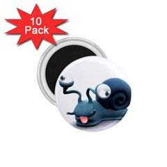 Funny Snail 1.75  Button Magnet (10 pack)