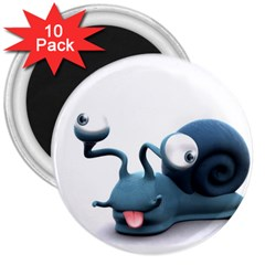 Funny Snail 3  Button Magnet (10 pack)