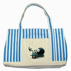 Funny Snail Blue Striped Tote Bag