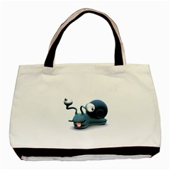Funny Snail Twin-sided Black Tote Bag