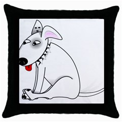 Pitbull Black Throw Pillow Case
