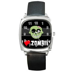 I Love Zombies Square Leather Watch